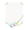Color Paint in Palette with Brush and Blank Paper vector image