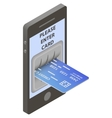 Credit card in input of ATM vector image