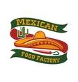 Mexican food restaurant sombrero hat icon vector image