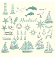 Nautical set with ships and wheel vector image
