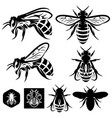 set of monochrome templates with bees of vector image