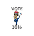 Vote 2016 Democrat Donkey Mascot Flag Cartoon vector image