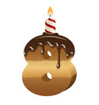 Birthday cake font - number eight vector image