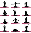 yoga exercise silhouette vector image vector image