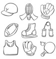 doodle of sport equipment style vector image