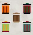 metal garbage can set vector image