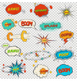 set of multicolored comic sound effects vector image