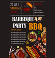 A bbq menu template vector image