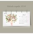 Calendar 2016 marchmonth Season girls design vector image