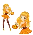 Blonde Witch With Pumpkin vector image