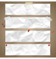 Set of horizontal banners with crumpled paper vector image