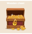 Opened antique treasure chest with coins vector image