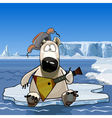 cartoon polar bear sitting on an ice floe vector image