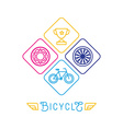 hipster bicycle logo template vector image