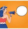 Pop art girl with speech bubble and megaphone vector image