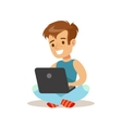Boy Sitting With Lap Top Child And Gadget vector image
