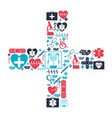color background with health icons forming a cross vector image