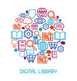 digital library concept background e-books vector image