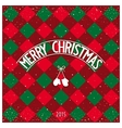 Christmas checkered greeting card vector image