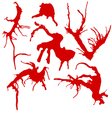 set of 6 red ink splashes isolated on white vector image vector image