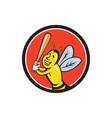 Killer Bee Baseball Player Batting Circle Cartoon vector image