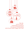 Red Christmas card with hanging ornaments vector image