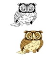 Brown and colorless cartoon owl bird mascot vector image