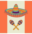 Mexican design with sombrero and cactus vector image