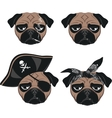 Set of funny pug vector image