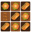 Tic-Tac-Toe of Hot Dog and Hamburger vector image