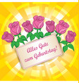 yellow background with roses - alles gute zum vector image