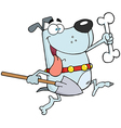 Running Gray Dog With A Bone And Shovel vector image vector image