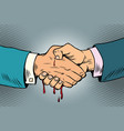 bloody handshake underhanded business transaction vector image