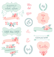 vintage wedding frames and ribbons set vector image vector image