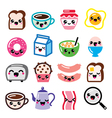 Kawaii breakfast food and beverages cute vector image