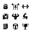 Set of Bodybuilding icons with - dumbbell weight vector image vector image