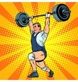 Weightlifting a weightlifter raises the bar vector image