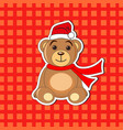 christmas bear in a cap of santa claus vector image
