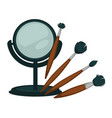 compact mirror and fluffy brushes for make up set vector image