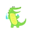 Crocodile WIth Bottle And Glass Having A Drink vector image