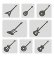 monochrome icons with guitars vector image