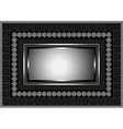 Silver frame with geometric ornament on black vector image