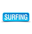 surfing blue 3d realistic square isolated button vector image