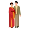 Japanese family Japan man and woman couple in vector image