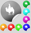 Camel icon sign Set of eight multi colored round vector image