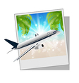 Photo frame with seaside and plane vector image
