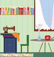 Retro room interior with sewing machine and phone vector image