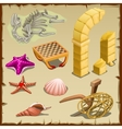 Set of sea creatures antique items and skeleton vector image