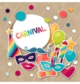 Celebration background with carnival stickers and vector image