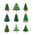 christmas new year tree icons with ornament vector image